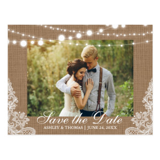 Rustic Wedding Burlap Lights Lace Save the Date Postcard