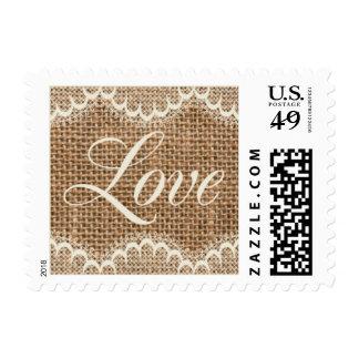 Rustic Wedding Burlap Love Stamps
