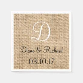 Rustic Wedding Burlap Name Date Monogram Paper Napkin