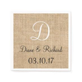 Rustic Wedding Burlap Name Date Monogram Standard Cocktail Napkin