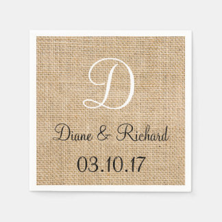 Rustic Wedding Burlap Name Date Monogram Paper Napkin
