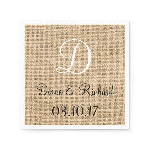 Rustic Wedding Napkins: Rustic Wedding Burlap Name Date Monogram Disposable Napkin