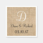 Rustic Wedding Burlap Name Date Monogram Disposable Napkin