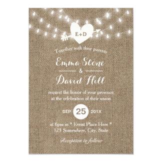 Rustic Wedding Burlap String Lights Arrow & Heart Card