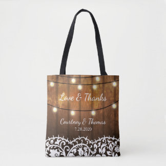 Rustic Wedding Country Barn, Lace, String Lights Tote Bag