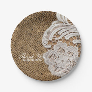 rustic wedding country burlap lace wedding favor paper plate
