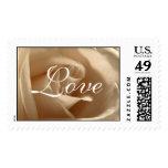 Rustic Wedding Cream Rose Love RSVP Save The Date Postage Stamp