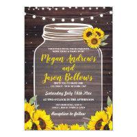 Rustic Wedding Day Wood Sunflowers Jar Fireflies Invitation