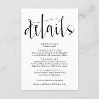 Rustic Wedding Details Info Card