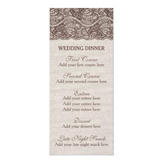 "Rustic Wedding dinner menu Burlap lace 4"" X 9.25"" Invitation Card"