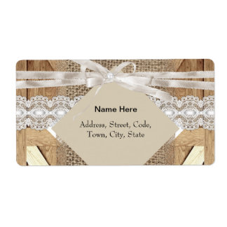 Rustic Wedding Door Beige White Lace Wood Burlap Label