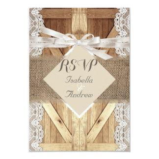 Rustic Wedding Door Beige White Lace Wood RSVP 3.5x5 Paper Invitation Card
