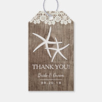 Rustic Wedding Favor Starfish Laced Thank You Gift Tags