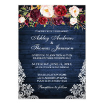 Rustic Wedding Floral Blue Wood Lace Invite