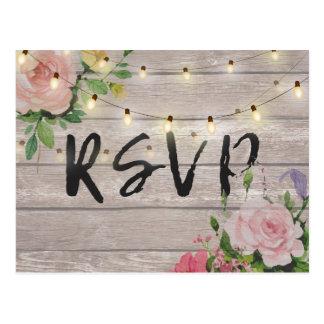 Rustic Wedding Floral Wood String Light RSVP Reply Postcard