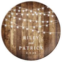 Rustic Wedding Gift Barn Wood Newlywed Mr & Mrs Dinner Plate