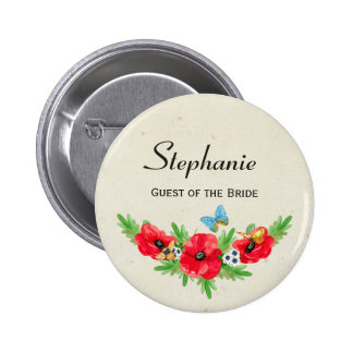 Rustic Wedding Guest Red Poppy Watercolor and Name Button