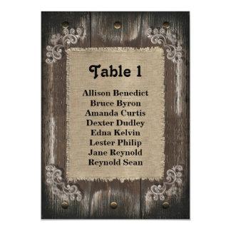 Rustic Wedding Guest Seating List - Wood Burlap 5x7 Paper Invitation Card