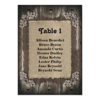 Rustic Wedding Guest Seating List - Wood Burlap Personalized Announcement