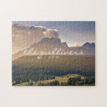 "Rustic Wedding Guest Signature Book Alternative Jigsaw Puzzle<br><div class=""desc"">Have your guests help create a memory for years to come. This puzzle features our iconic painted mountain picture with the happy married couple&#39;s last name and wedding date. Have guests sign and leave a special message with white markers. Makes a fun and creative alternative to the standard signature book....</div>"