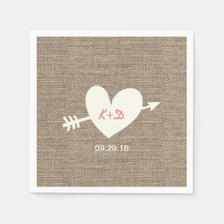 Rustic Wedding Heart & Arrow Elegant Burlap Paper Napkin