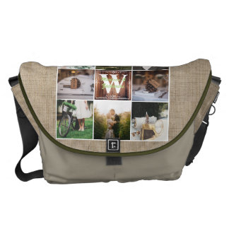 Rustic Wedding Instagram Photo Grid Wood Burlap Messenger Bag