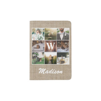 Rustic Wedding Instagram Photo Grid Wood Burlap Passport Holder