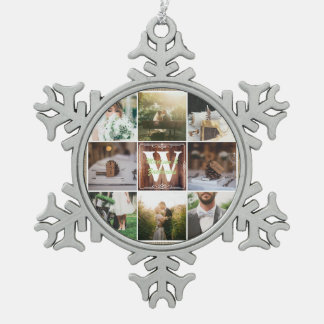 Rustic Wedding Instagram Photo Grid Wood Burlap Snowflake Pewter Christmas Ornament