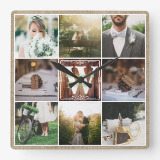 Rustic Wedding Instagram Photo Grid Wood Burlap Square Wall Clock