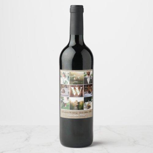 Rustic Wedding Instagram Photo Grid Wood Burlap Wine Label