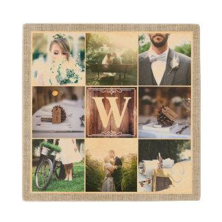 Rustic Wedding Instagram Photo Grid Wood Burlap Wood Coaster