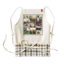 Rustic Wedding Instagram Photo Grid Wood Burlap Zazzle HEART Apron