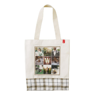 Rustic Wedding Instagram Photo Grid Wood Burlap Zazzle HEART Tote Bag