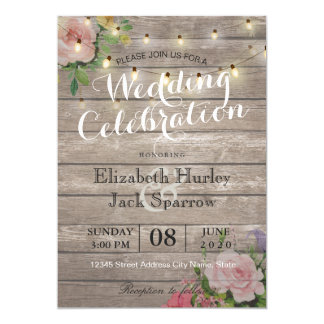 rustic wedding invitation floral wood string light - Wood Wedding Invitations