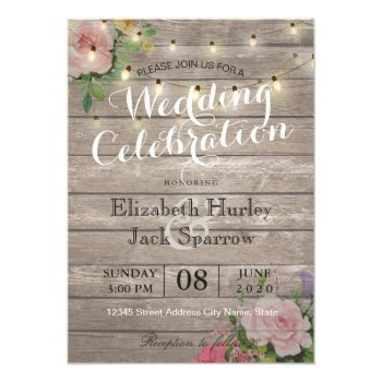 Rustic Wedding Invitation Floral Wood String Light by ReadyCardCard at Zazzle