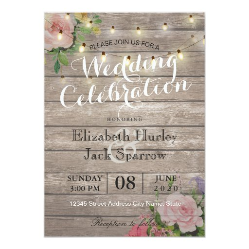Rustic Wedding Invitation Floral Wood String Light | Zazzle