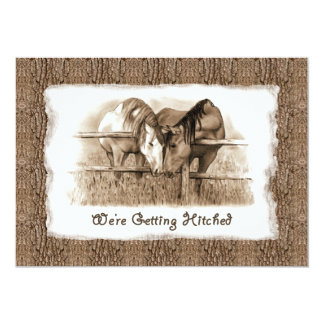Rustic Wedding Invitation: Getting Hitched: Horses Card