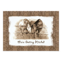 Rustic Wedding Invitation: Getting Hitched: Horses Invitation