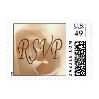 Rustic Wedding Invitation RSVP Soft Rose Postage