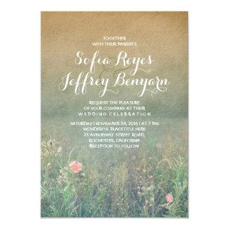 "Rustic Wedding Invitation - The Summer Meadow 5"" X 7"" Invitation Card"