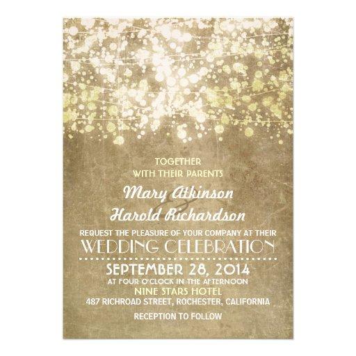 rustic wedding invitation with string lights