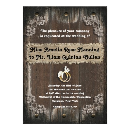 Rustic Wedding Invitation - Wood Backgroun