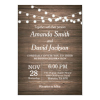 Rustic Wedding Invitation Wood Country Vintage