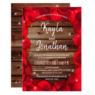 Rustic Wedding Invitations | Wood Red Rose Petals