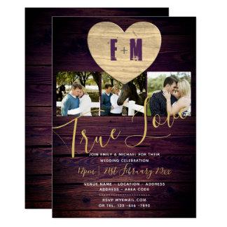 Rustic Wedding Invites Photo Monogram PURPLE GOLD