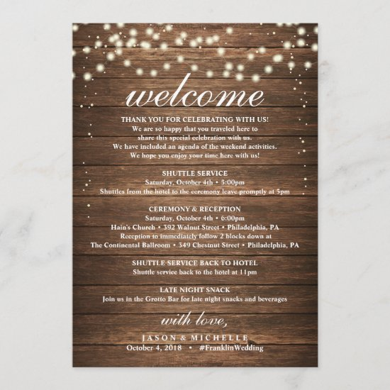 Rustic Wedding Itinerary - Wedding Welcome Letter Program