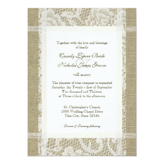 Rustic Wedding Lace and Burlap 5.5x7.5 Paper Invitation Card