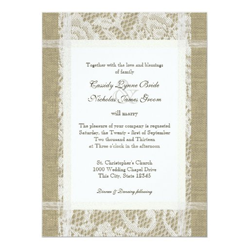 Rustic Wedding Lace and Burlap Custom Announcements