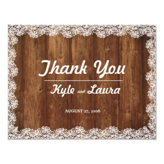 Rustic Wedding Lace and Wood Thank You Card