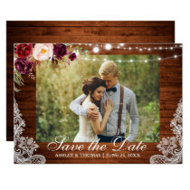 Rustic Wedding Lace Burgundy Floral Save the Date Card